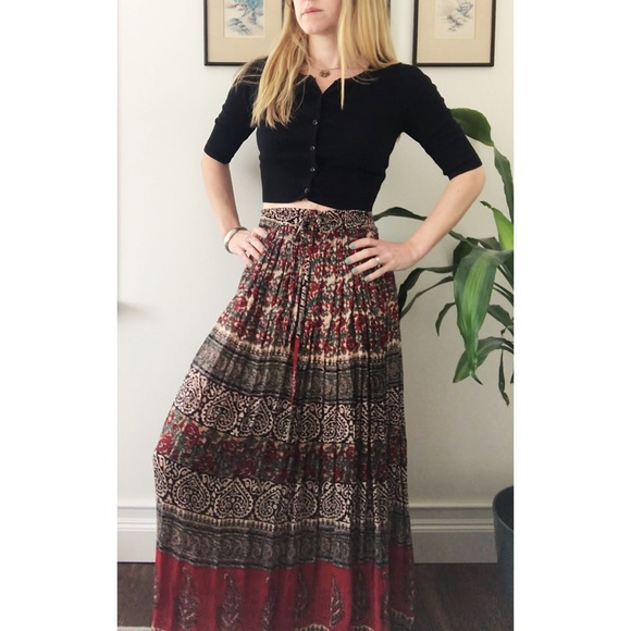 094de7a819 Vintage Skirts   90s Crepe Indian Print Crinkle Skirt   Poshmark